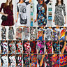 Womens Printed Bodycon Cocktail Evening Party Tunic Midi Dress Sundress S - 3XL