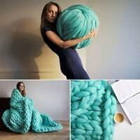 1 Ball Chunky Wool Yarn DIY Super Soft Bulky Arm Knitting Roving Crocheting UK