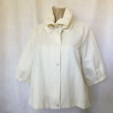 Samuel Dong Cropped Coat Jacket White XL Zip Snap Short Lined Pocket stretch