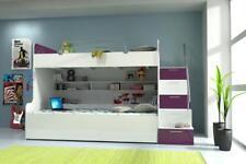 Doppelstockbett Etagenbett Bett Kinderbett Jugendbett Hochbett Neu Violett/Weiß