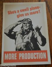 WWII Poster MORE PRODUCTION Postcard