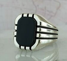 Solid 925 Sterling Silver Mens Ring Black Onyx Gemstone HandMade Turkish Style