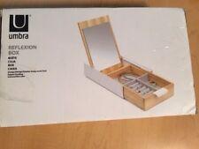 Umbra Reflexion Jewellery Storage Box White Wooden Mirror NEEDS MINOR REPAIR