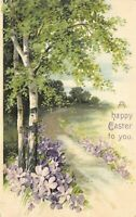 Easter~Purple Lavender Violets Along Country Lane~Birch Trees~Emboss~nr 2957/60