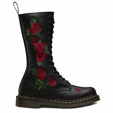 Womens Dr Martens Vonda Black Softy T Rose Red Leather Calf BOOTS Shu Size UK 6 / EU 39