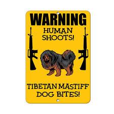 Tibetan Mastiff Dog Human Shoots Fun Novelty Metal Sign