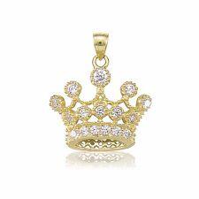 14K Solid Yellow Gold CZ Crown Pendant - Cubic Royal Necklace Charm Women Men