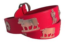 NEW red leather wide Swiss Appenzell belt folklore Switzerland silver M L