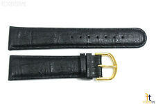 20mm Genuine Black Leather Padded Stitched Watch Band Strap Gold Tone Buckle