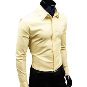 Mens Long Sleeve Button Down Tops Casual Slim Fit Formal Business Dress Shirts