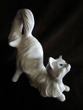 "Big White Cat kitten Figurine Ceramic blue eyes Stretching 11 3/4"" life size"