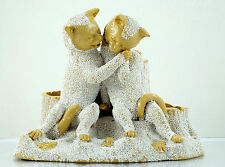 Tschinkel Salt / Sand Glazed Yellowware Cats Smoking Set Figurine 1800s