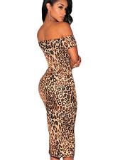 Sexy Leopard Print Off-The-Shoulder Midi party dress women fashion bodycon