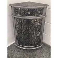 Blackened Silver Metal Embossed Corner Cabinet