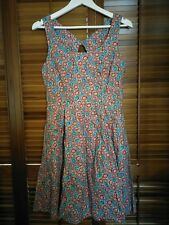 Jigsaw Liberty Art Fabrics Floral Print Summer Dress in Red & Blue - Size 10