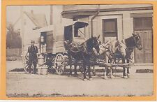 Real Photo Postcard RPPC - Milkman with Horsedrawn Milk Wagon