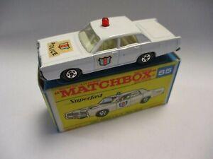 Matchbox Lesney Superfast SF55 Mercury Sedan Police- RED dome light, boxed