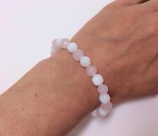Ladies Milk White Pink Glass Faceted Bead Bracelet Jewellery Elastic Stretch NEW