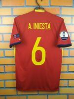 Iniesta Spain Jersey 2016 2017 Home S Shirt AI4411 Football Adidas Trikot Maglia