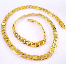Men Women Classic 60cm Long Heavy Chain Necklace Titanium Yellow Gold Plated UK