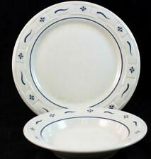 Longaberger WOVEN TRADITIONS CLASSIC BLUE Dinner Plate + Rim Soup VERY GOOD COND