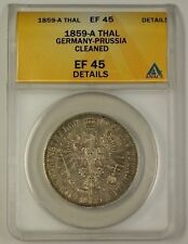 1859-A Germany-Prussia Silver Thaler Coin ANACS EF-45 Details Cleaned