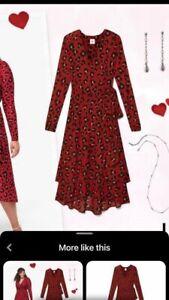 Cabi Siren Wrap Dress Red Leopard #5771 Sz Large