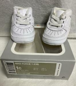 Baby Infant Nike Air Force 1 CB Soft Bottom Crib Shoes White Size 1C 844103-100