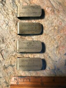 FOUR VINTAGE ENGRAVED WINSOR & NEWTON ART NICKEL SKETCHING / DRAWING BOARD CLIPS