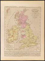 1859. Inghilterra Scozia Irlande. Carta Geografica Antica di Houze