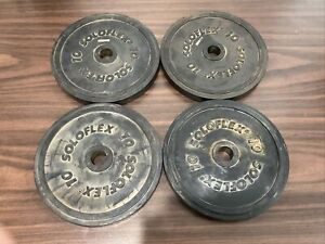 Vintage Solo Flex rubber coated 10 pound weight plates Lot Of 4 Free Shipping