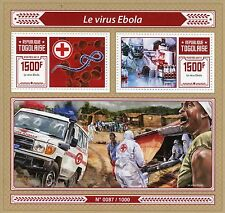 Togo 2015 MNH Ebola Virus 2v S/S Medical Health Red Cross Ambulance Stamps