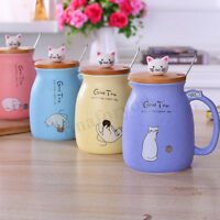 Cat Kitten Ceramic Coffee Mug Tea Milk Water Cup Handle + Spoon + Lid  Xmas Gift