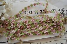 """18"""" ANTIQUE VINTAGE FRENCH PINK GRN ROCOCO ROSETTE RIBBON WORK FLOWER TRIM DOLL"""