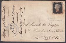 1840 1d Penny Black on Cover; Pl. 1b re-entry; 4 good margins; super red seal;MX