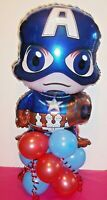 "24"" FOIL BALLOON TABLE DISPLAY - AIR FILL NO HELIUM - CAPTAIN AMERICA HERO  UK"