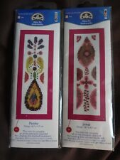 "2 Cross stitch Kit Bookmarks "" Jewel and paisley "" New by Dmc"