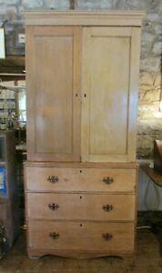 Antique Victorian pine LINEN PRESS cupboard with shelves over drawers 95x203cm