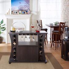 NEW Espresso Dry Bar Storage Holds 12 Bottles Wine Rack Liquor Cabinet Buffet