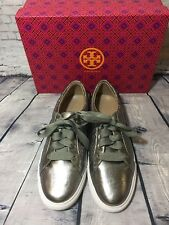 New Tory Burch Quilted Gunmetal Metallic Lace-Up Sneaker Size 10