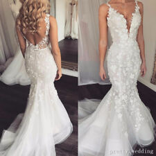 Gorgeous Appliqued V Neck Mermaid Wedding Dresses Sweep Train Beach Bridal Gowns