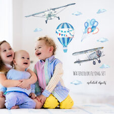 Watercolor airplane hot air balloon Wall Sticker baby rooms PVC Mural Decals +