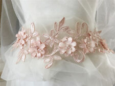 Pink Floral Lace Motif Embroidery Wedding Lace Trim Beaded Lace Applique 1 Piece