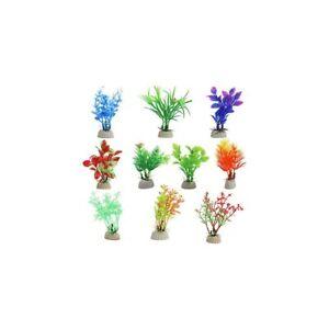 10 Pieces Aquarium Fish Tank Plants, Small Fish Tank Plastic Artificial Plant
