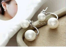5-6/10-11MM size White aquaculture Pearl Earring AAA C40349 DOUBLE BEADS
