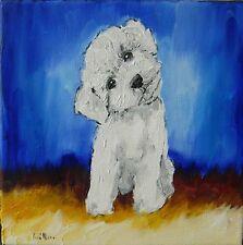 """Tableau original de Caillon 20x20 cm bichon """"ptiboudchou n°2"""" chien blanc"""