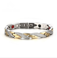 Fashion Jewelry Men's Women's Stainless Steel Silver&Gold Magnetic Bracelet Gift