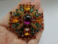 Joan Rivers Multi Coloured Glass Cross Vintage Gold Tone Statement Brooch Pin