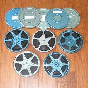"""Lot of 5 vintage 7"""" metal 8mm film reels home movies, vintage 1960s"""