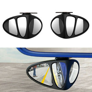 Left+Right Rear View Blind Spot Mirror Kits 360° Rotation Wide Angle Fit For Car